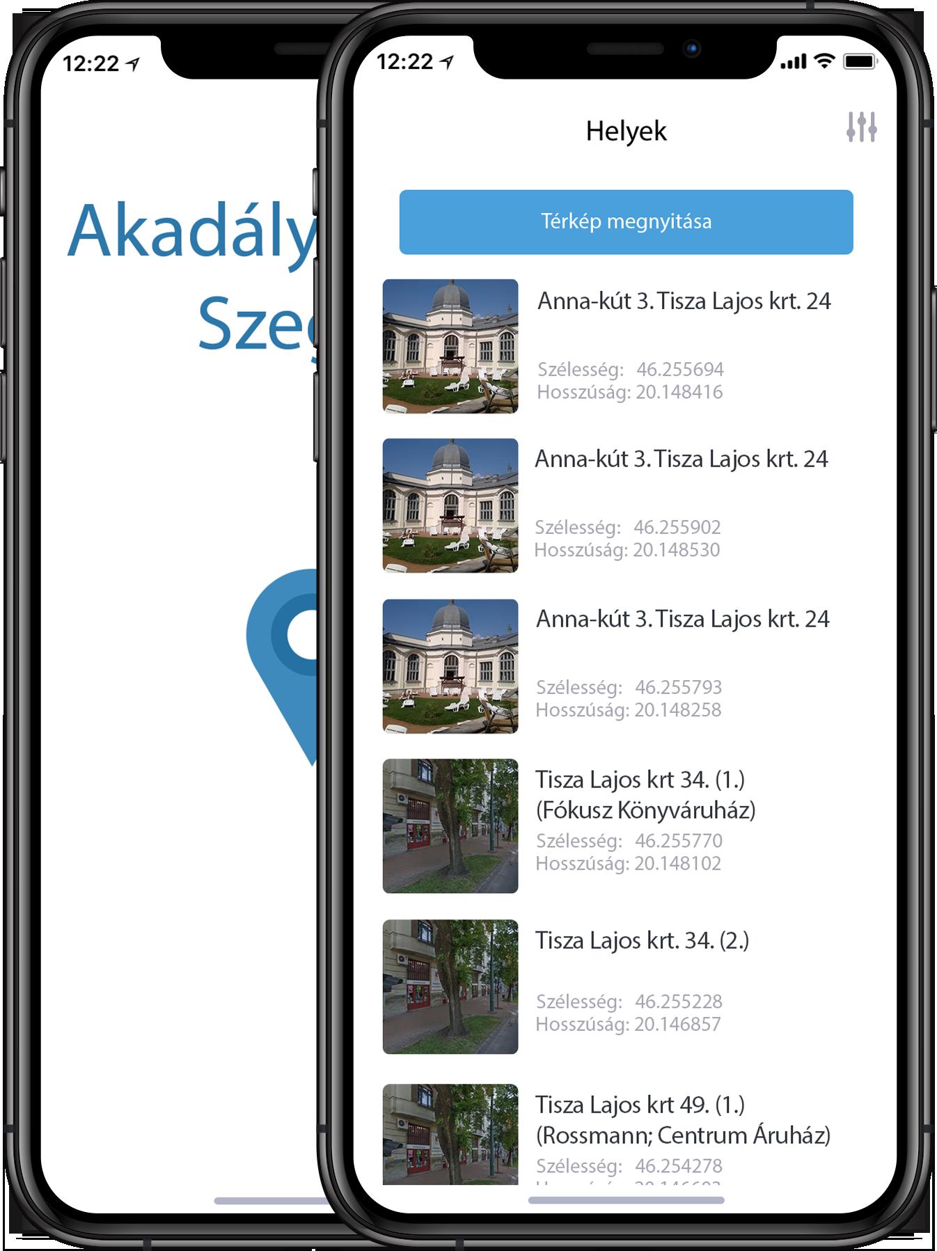 Akadálymentes Szeged alkalmazás